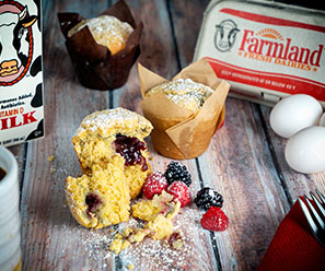 Corn Muffins with Blackberry or Raspberry Jam